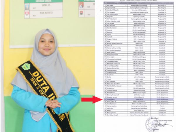 Estia Ningsih Berhasil Masuk Grand Final Pada Ajang Pemilihan Duta Inmas Kanwil Kemenag Sumsel 2019